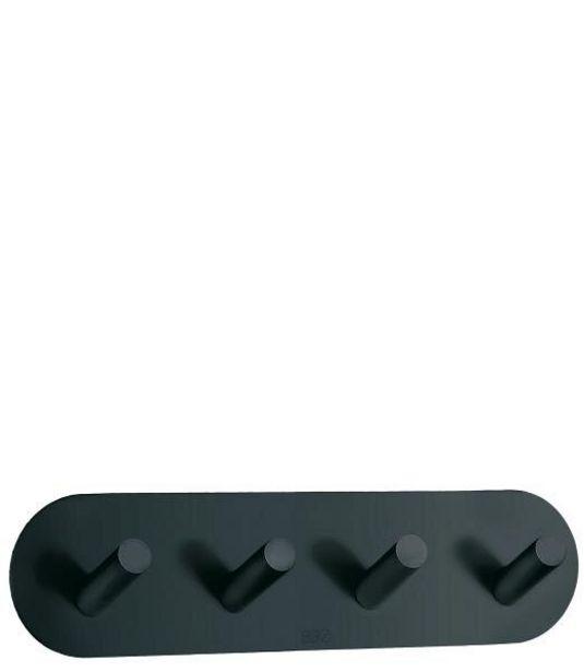Tilbud: Kroklist 4 selvkleb sort bb1094 rustfritt stål til baderom 215 PK
