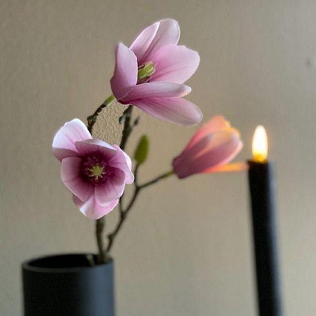 Tilbud: Magnolia blomst Rosa 58cm 34 PK