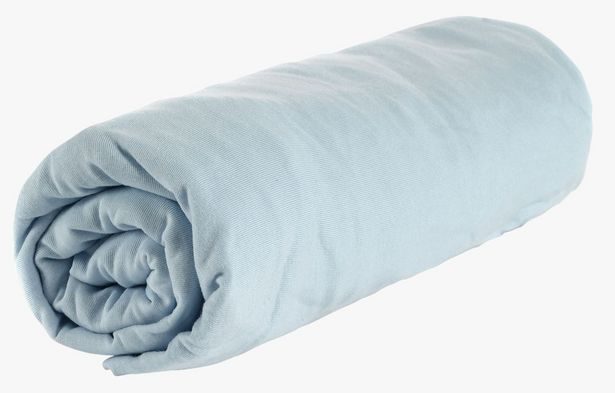 Tilbud: Jersey formsydd stretchlaken lys blå 119,9 PK
